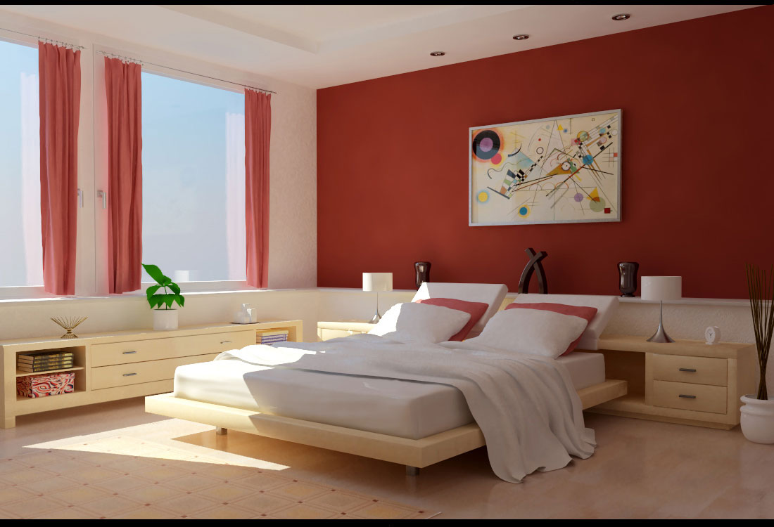 Cool-Furniture-For-Red-White-Bedroom-With-Big-Windows
